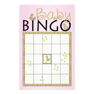 "Baby Shower Pink BINGO ""Gold Birds"" Flyer"