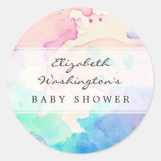 Baby Shower | Pink Blue & Purple Watercolor Splash Round Sticker