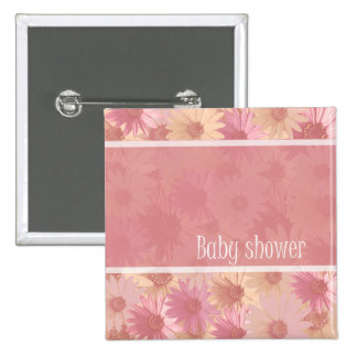 baby shower pink daisy button