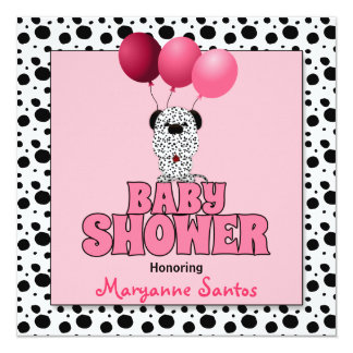 Baby Shower   Pink Dalmatian Puppy 13 Cm X 13 Cm Square Invitation Card