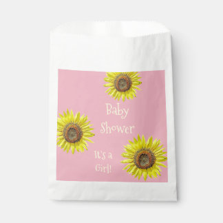 Baby Shower Pink Favor Bags Sunflower Themed Party Favour Bags
