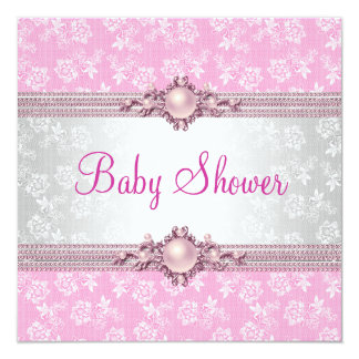 """Baby Shower Pink Floral Pearl Damask 5.25"""" Square Invitation Card"""