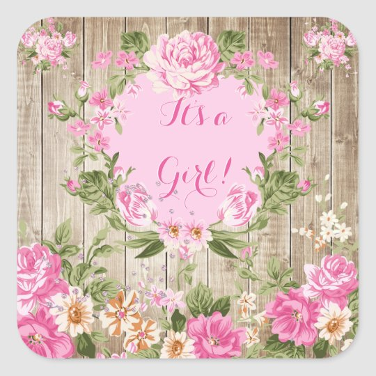 Baby Shower Pink Floral Rustic Wood Girl Square
