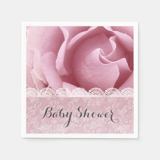 BABY SHOWER Pink Flowers with Lace and Damask