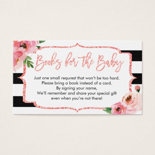 Baby Shower Pink Girl Bring A Book Request