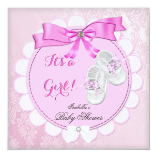 "Baby Shower Pink Girl Cute Girl Booties Damask 5.25"" Square Invitation Card"