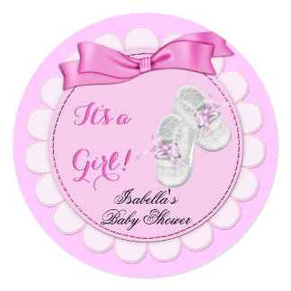 "Baby Shower Pink Girl Cute Girl Booties 5.25"" Square Invitation Card"