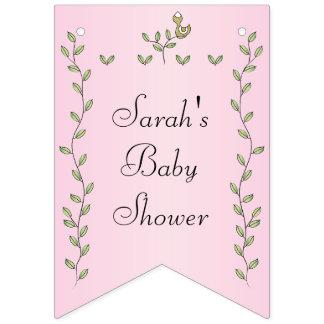 "Baby Shower Pink ""Gold Birds,"" Swallowtail Banner"