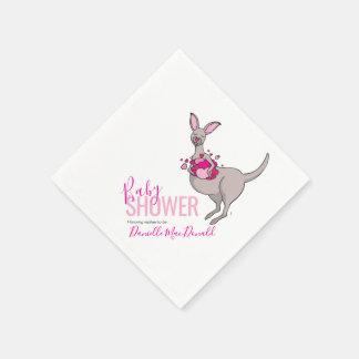 Baby shower pink heart kangaroo paper napkins
