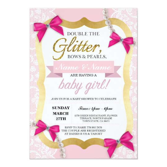 Baby Shower Pink Lace Gold Glitter Bow Girl