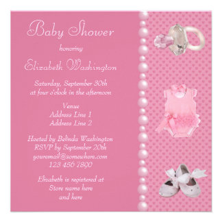 Baby Shower Pink Shoes Clothes Jewel Pacifier Invite