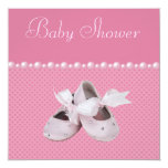 Baby Shower Pink Shoes, Clothes & Jewel Pacifier 13cm X 13cm Square Invitation Card