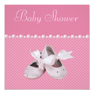 Baby Shower Pink Shoes, Clothes & Jewel Pacifier 5.25x5.25 Square Paper Invitation Card