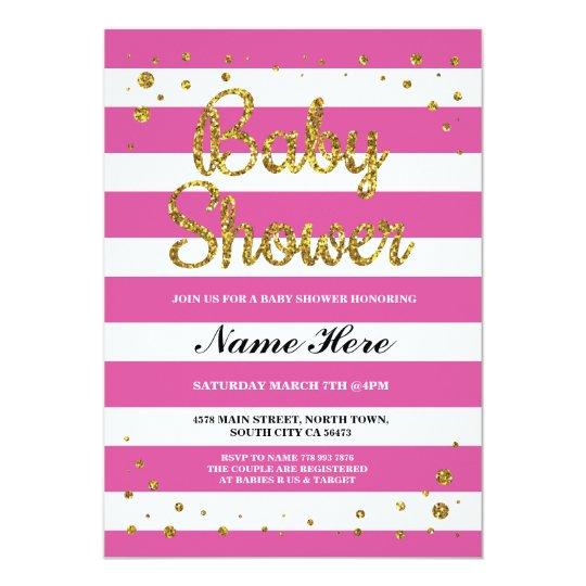 Baby Shower Pink Stripe Gold Glitter Girl Invite