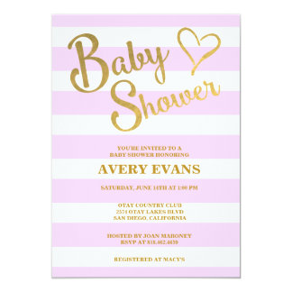 Baby Shower Pink Stripes with Gold Lettering Heart Card
