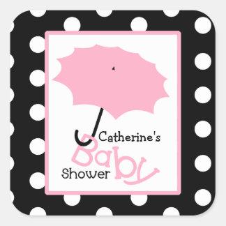 Baby Shower Pink Umbrella & Polka Dots Square Sticker