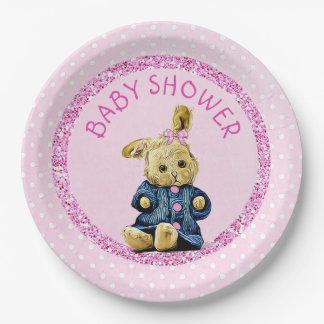 Baby Shower Pink Vintage Bunny Rabbit Paper Plates