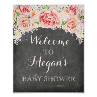 Baby Shower Pink Watercolor Flowers Chalkboard Poster
