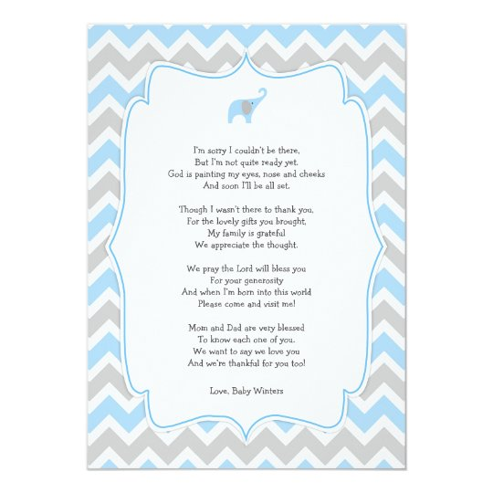 Baby shower poem thank you notes, blue elephant