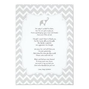 Baby shower poem thank you notes, grey elephant invitation