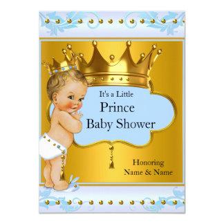 Baby Shower Prince Boy Blue Gold Crown Blonde 11 Cm X 16 Cm Invitation Card
