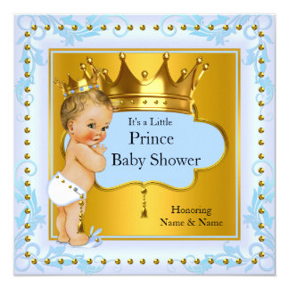 Baby Shower Prince Boy Blue Gold Crown Blonde 13 Cm X 13 Cm Square Invitation Card