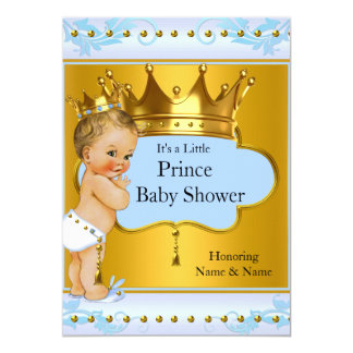Baby Shower Prince Boy Blue Gold Crown Blonde Card