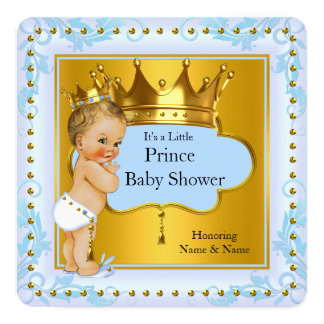 Baby Shower Prince Boy Blue Gold Crown Blonde 13 Cm X 13 Cm Square Invitation Card