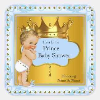 Baby Shower Prince Boy Blue Gold Crown Blonde Square Sticker