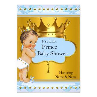 Baby Shower Prince Boy Blue Gold Crown Brunette 11 Cm X 16 Cm Invitation Card