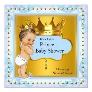 Baby Shower Prince Boy Blue Gold Crown Brunette 13 Cm X 13 Cm Square Invitation Card