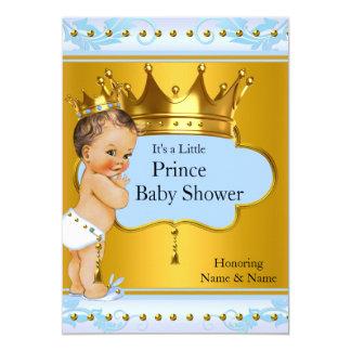 Baby Shower Prince Boy Blue Gold Crown Brunette 13 Cm X 18 Cm Invitation Card