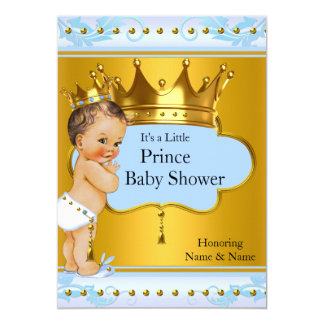 Baby Shower Prince Boy Blue Gold Crown Brunette Card