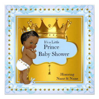 Baby Shower Prince Cute Boy Blue Gold Crown Ethnic 13 Cm X 13 Cm Square Invitation Card
