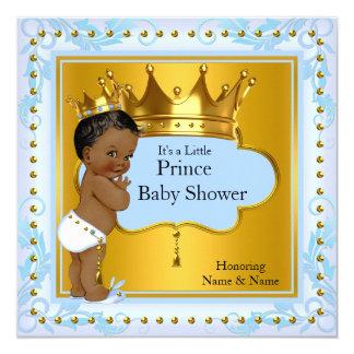 Baby Shower Prince Cute Boy Blue Gold Crown Ethnic 13 Cm X 13 Cm Square Invitation Card