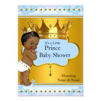 Baby Shower Prince Cute Boy Blue Gold Crown Ethnic 13 Cm X 18 Cm Invitation Card