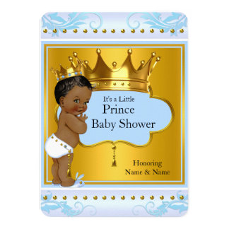 Baby Shower Prince Cute Boy Blue Gold Crown Ethnic Card