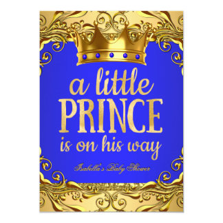 Baby Shower Prince on his way Gold Royal Blue 13 Cm X 18 Cm Invitation Card