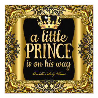 Baby Shower Prince on the way Gold Black 13 Cm X 13 Cm Square Invitation Card