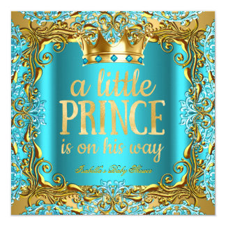 Baby Shower Prince on the way Gold Teal Aqua 13 Cm X 13 Cm Square Invitation Card