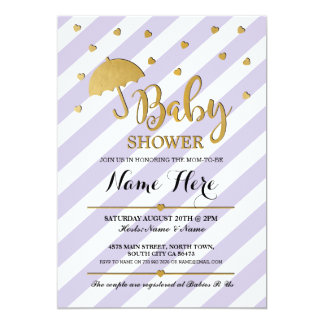 Baby Shower Purple and Gold Lilac Twins Invite