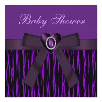 Baby Shower Purple Animal Print, Bow & Heart Custom Announcement