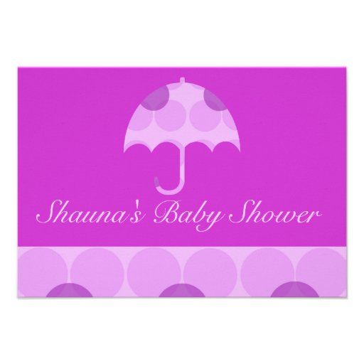 """Baby Shower"" - Purple Dotted Umbrella [a] Personalized Announcements"