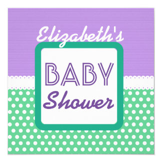"BABY SHOWER Purple Green Polka Dots A01 5.25"" Square Invitation Card"