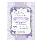 Baby Shower Purple Lace Glitter Bow Girl Invite