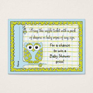 Baby Shower Raffle Ticket/Blue Green Owl