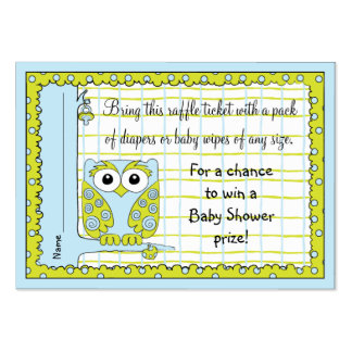 Baby Shower Raffle Ticket/Blue Green Owl Pack Of Chubby Business Cards