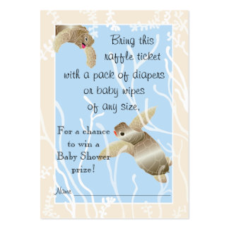 Baby Shower Raffle Ticket/Cream/Blue Turtle Pack Of Chubby Business Cards