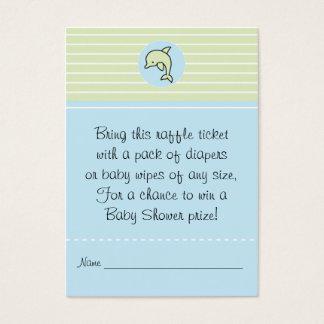 Baby Shower Raffle Ticket/Green/Blue Dolphin