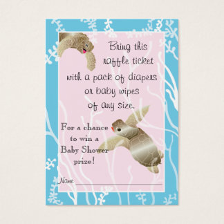 Baby Shower Raffle Ticket/Pink/Blue Turtle